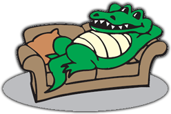 Alligator Reclining on a Sofa